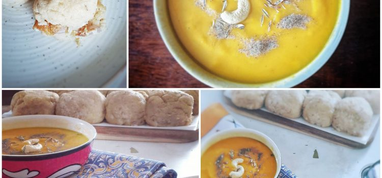 Gluten Free bread rolls with a velvety smooth carrot soup